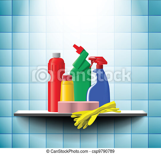 Cleaner bottles in bathroom - csp9790789