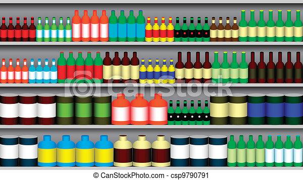 vektor clip art von supermarkt regale supermarkt regal mit verschieden csp9790791. Black Bedroom Furniture Sets. Home Design Ideas