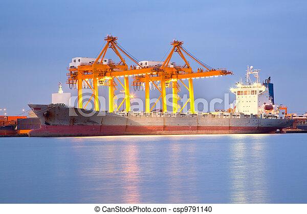 Shipping at dusk - csp9791140