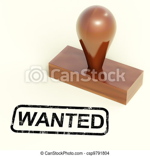 Wanted Rubber Stamp Shows Needed Required Or Seeking - csp9791804
