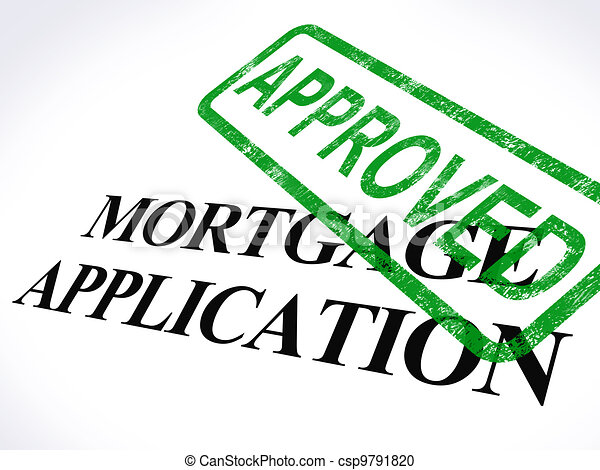 Mortgage Application Approved Stamp Shows Home Loan Agreed - csp9791820