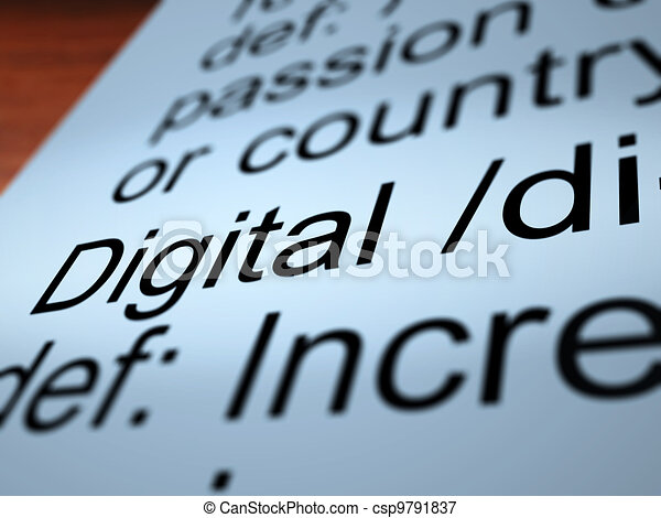 Digital Definition Closeup Showing Binary Values - csp9791837