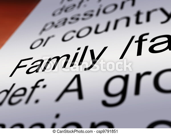 Family Definition Closeup Showing Mom Dad Unity - csp9791851