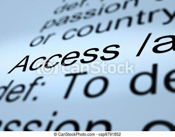 Access Definition Closeup Showing Permission To Enter A Place - csp9791852