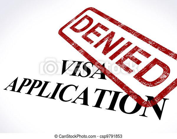 Visa Application Denied Stamp Shows Entry Admission Refused - csp9791853