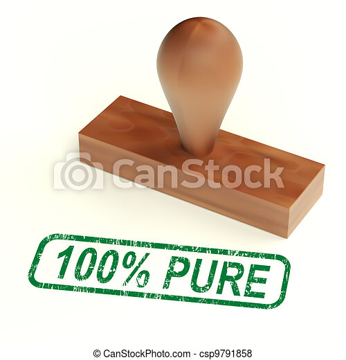 One Hundred Percent Pure Stamp Shows Genuine Or Natural - csp9791858