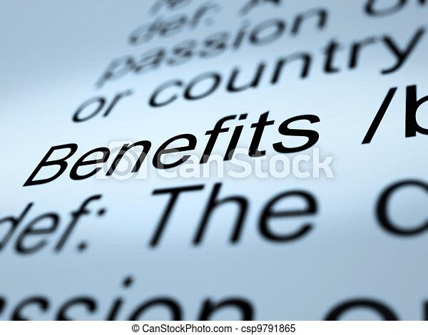 Benefits Definition Closeup Showing Bonus Perks Or Rewards - csp9791865
