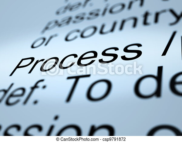 Process Definition Closeup Showing Result From Actions - csp9791872