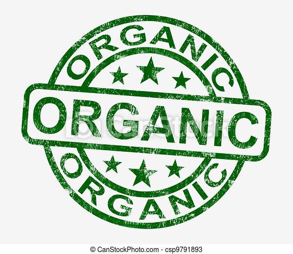 Organic Stamp Shows Natural Farm Food - csp9791893