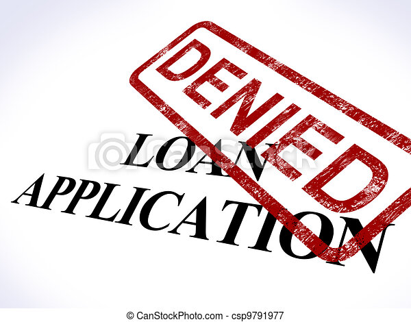 Loan Application Denied Stamp Shows Credit Rejected - csp9791977