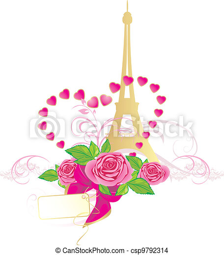 Pink roses and Eiffel tower - csp9792314