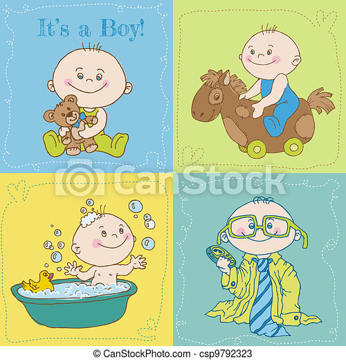 Baby Boy Arrival Card or Baby Shower Card - in vector - csp9792323