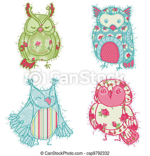 Various Owl Scrapbook Collection  - for your design, scrapbooking, cards in vector - csp9792332