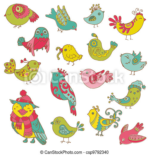 Colorful Birds Doodle Collection - hand drawn in vector - for design and scrapbook - csp9792340