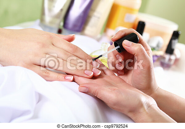 Female hands and manicure related objects - csp9792524