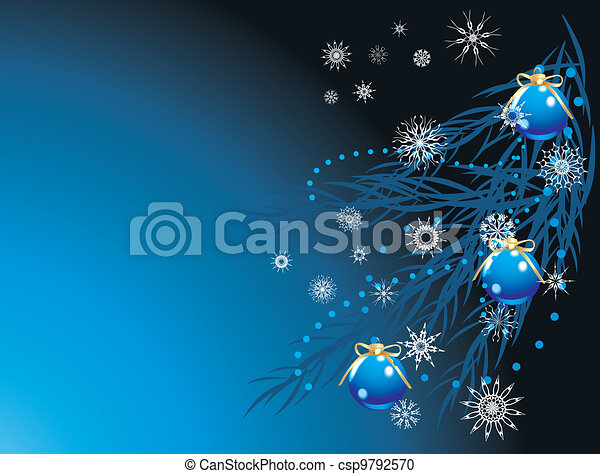 Blue balls with bows and snowflakes - csp9792570