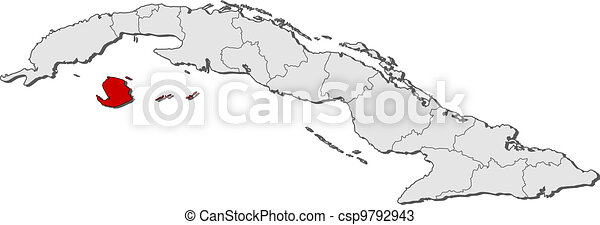 Map of Cuba, Isla de la Juventud highlighted - csp9792943