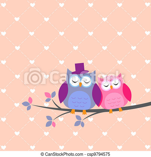 Couple owls in love - csp9794575