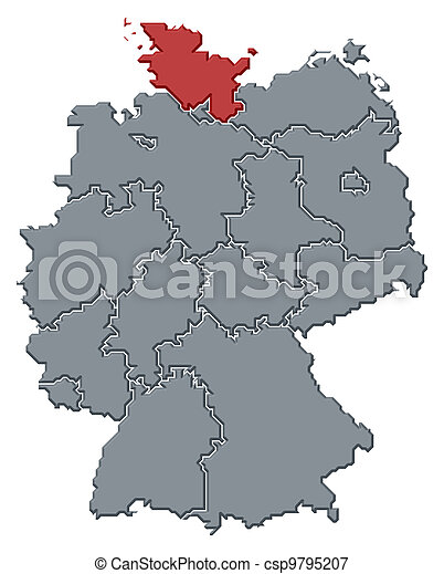 Map of Germany, Schleswig-Holstein highlighted - csp9795207