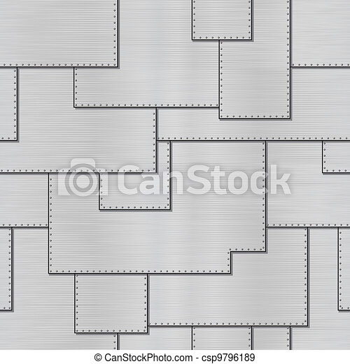 Vector texture - steel sheets with rivets - csp9796189
