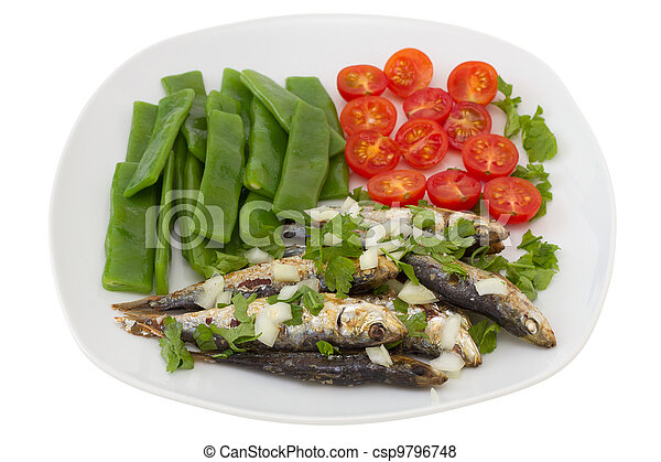 fried sardines with boiled green beans and tomato - csp9796748