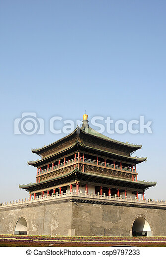 Bell Tower in Xian China - csp9797233