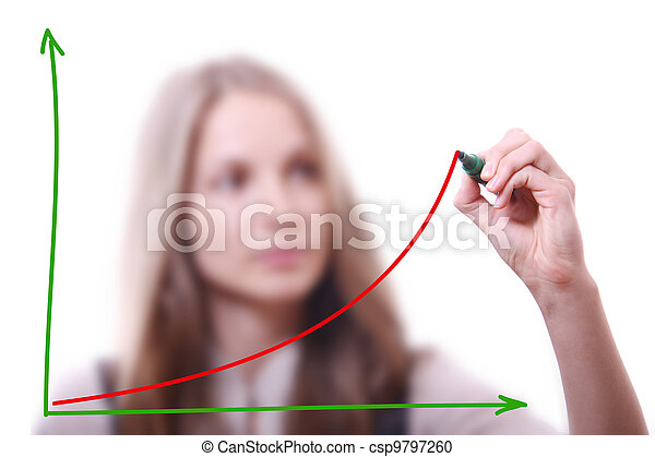 Businesswoman drawing growth chart - csp9797260