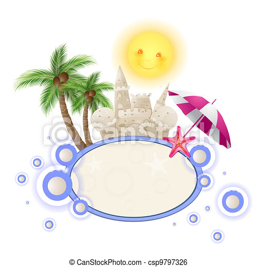 Summer background with castle sand  - csp9797326