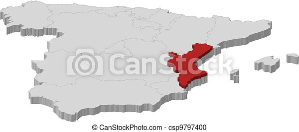 Map of Spain, Valencian Community highlighted - csp9797400