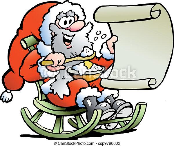 Santa Claus looks on his wish list - csp9798002