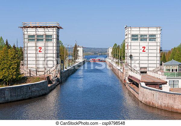 Sluice of the channel Volga-Don Lenin's name - csp9798548
