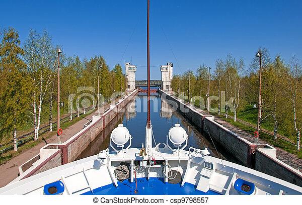 Sluice of the channel Volga-Don Lenin's name - csp9798557