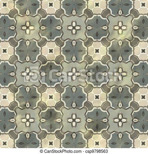 Ancient mosaic floor. Seamless texture. - csp9798563