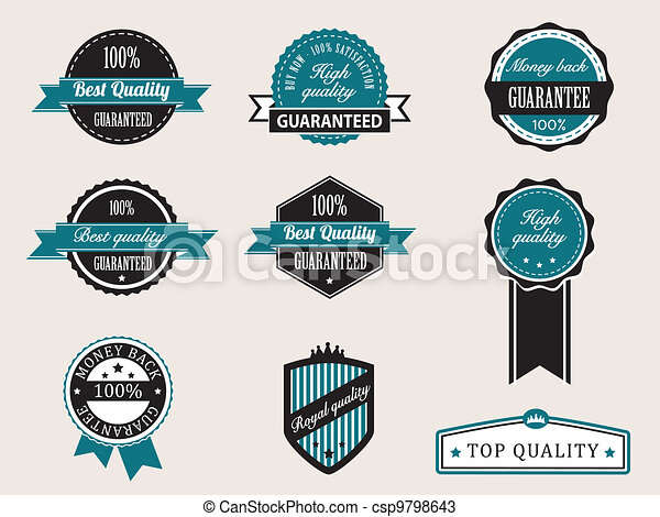 Premium Quality and Guarantee Badges with retro vintage style - csp9798643