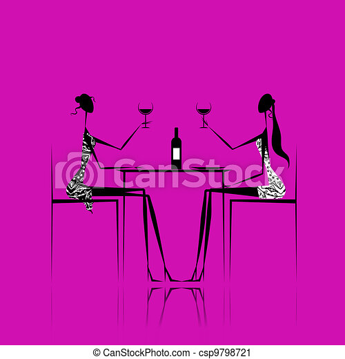 Girls drinking wine in cafe - csp9798721