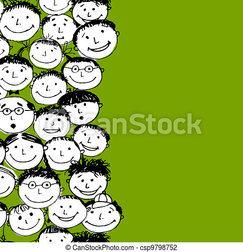 Crowd of funny peoples, seamless background for your design - csp9798752