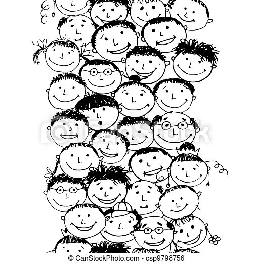 Crowd of funny peoples, seamless background for your design - csp9798756