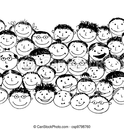 Crowd of funny peoples, seamless background for your design - csp9798760