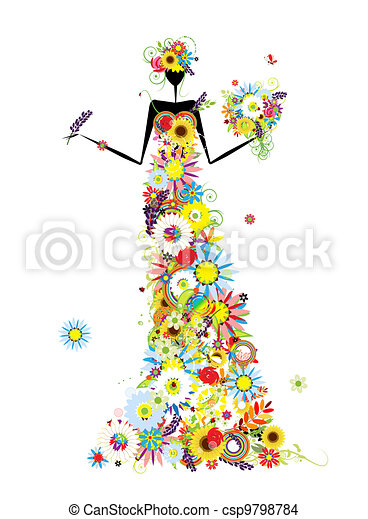 Floral woman with summer bouquet for your design - csp9798784