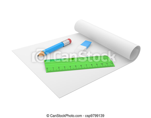 erasers, pencil and ruler - csp9799139