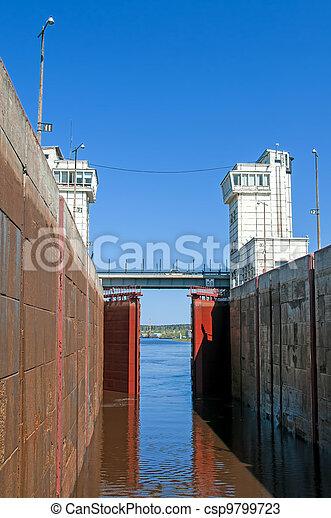 Sluice of the channel Volga-Don Lenin's name - csp9799723