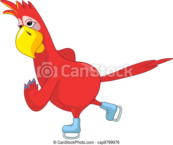 Funny Parrot. skater. - csp9799976