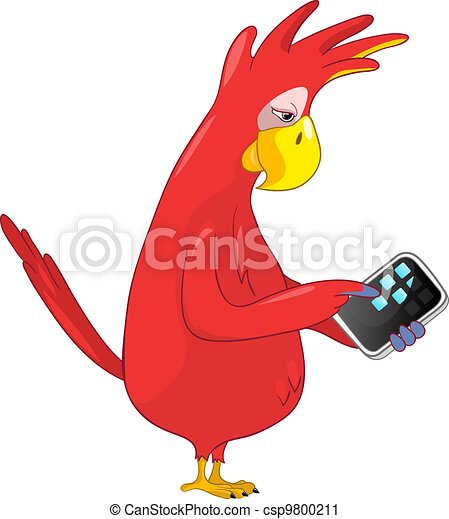 Funny Parrot. Tablet User . - csp9800211