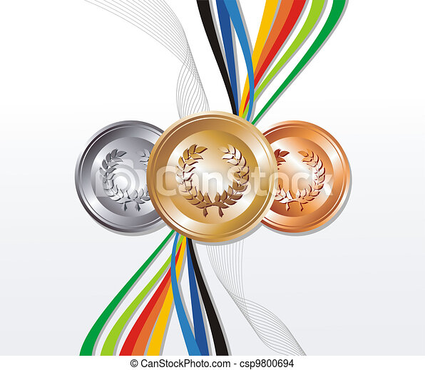 Gold, silver and bronze medal with ribbons background - csp9800694