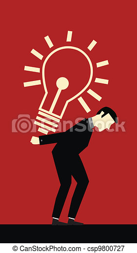 Businessman Bring Hard Idea - csp9800727