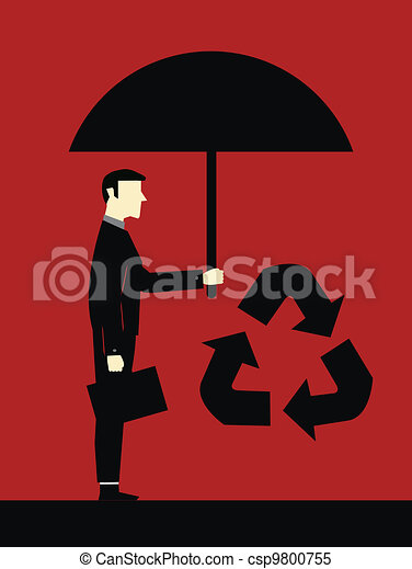 Businessman Protect Ecology - csp9800755