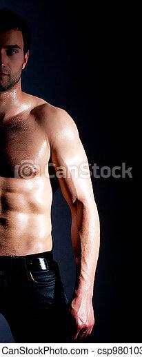 Fashionable muscular man - csp9801033
