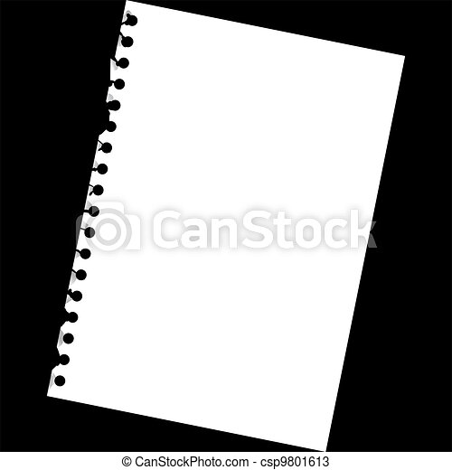 Close up of blank notepad paper - illustration - csp9801613