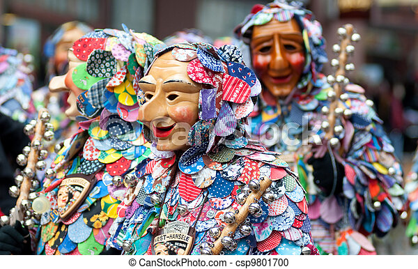 Mask parade at the historical carnival in Freiburg, Germany - csp9801700