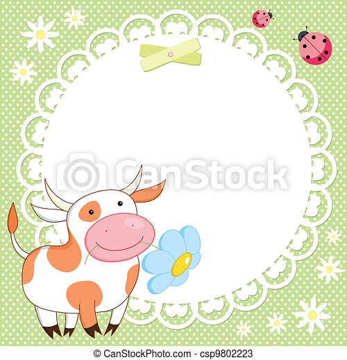 Vector background with cute cow - csp9802223